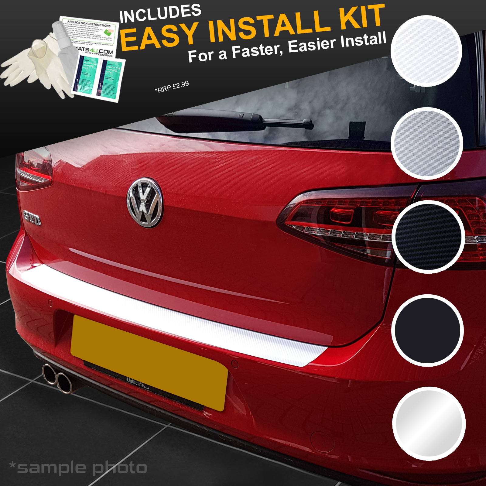 carmats4u Black Carbon Vinyl Bumper Lip Protector//Self Adhesive Easy Install Kit Included