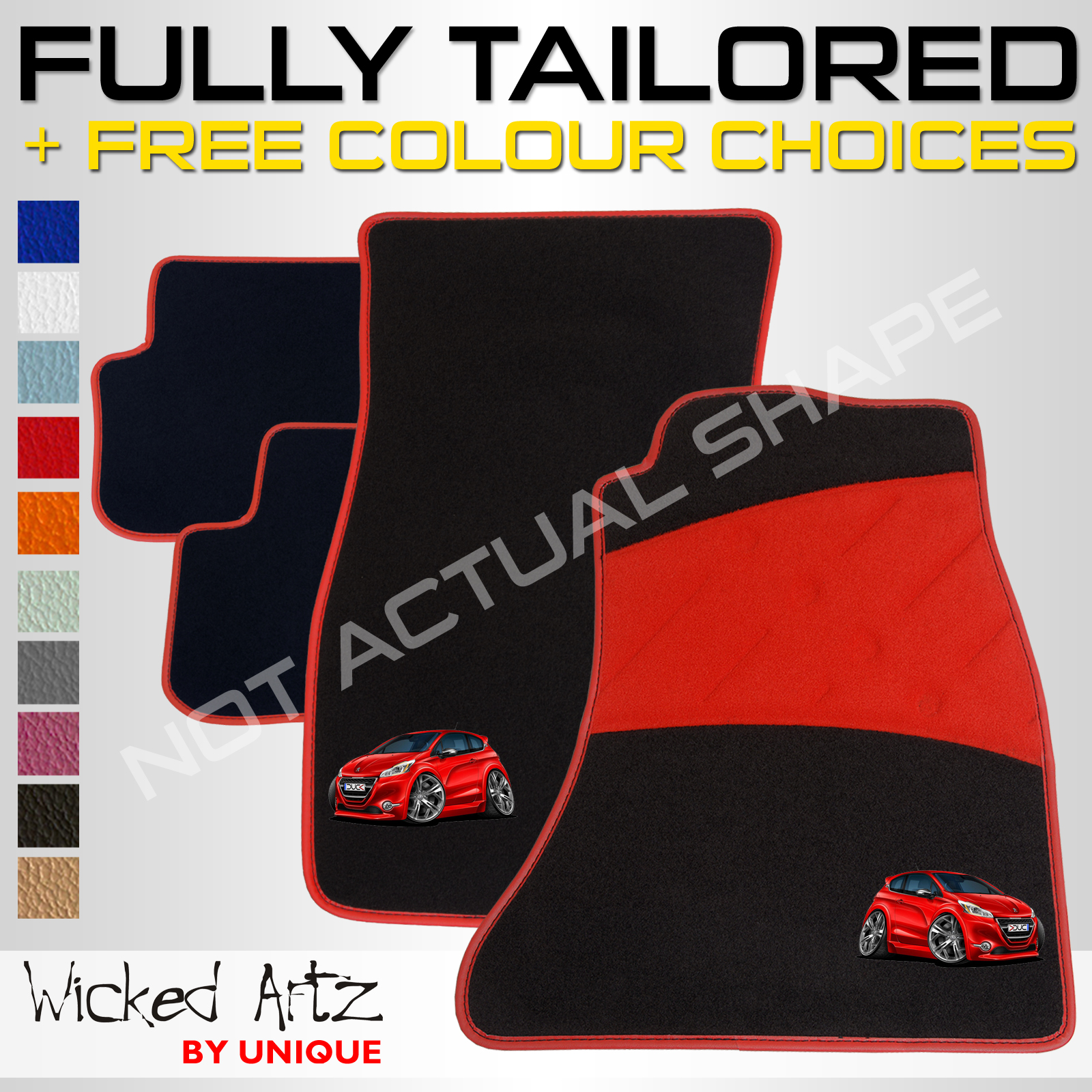 peugeot 208 gti (2012 onwards) car mats fully tailored + customise